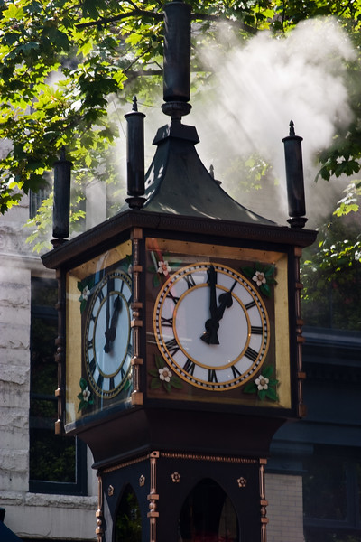 Steam Powered Clock in Chinatown in Vancouver, British Columbia, Canada. Steam is released every hour when time changes and chime sounds.