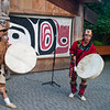 First Nation dances for tourists at Capilano Suspension Bridge in Vancouver, British Columbia, Canada.