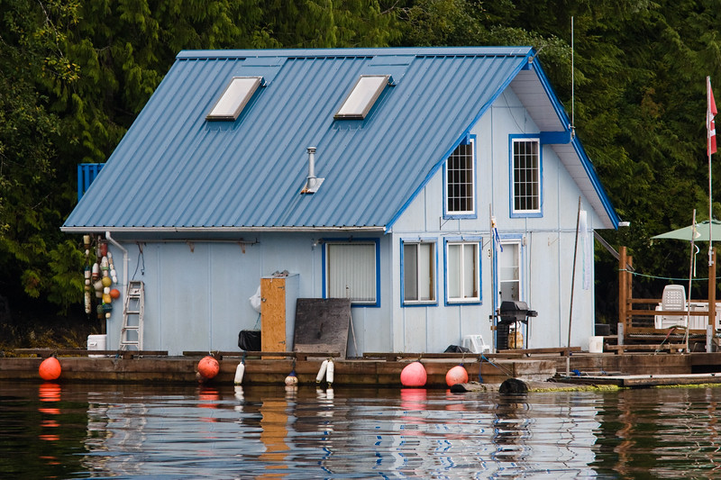 Houseboats and lodges are home to many along the Salt Water Inlet that leads to Port Alberni, British Columbia. Access is only by boat.