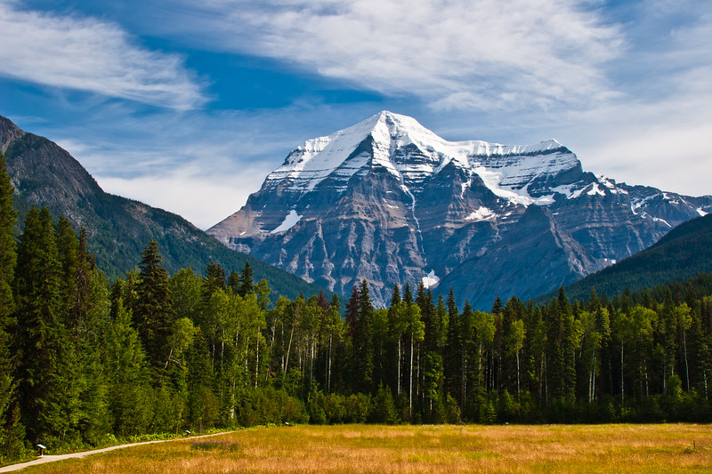 Mount Robson is the most prominent mountain in the Canadian Rockies, part of North America's Rocky Mountain range; it is also the highest point in the Canadian Rockies. The mountain is located entirely within Mount Robson Provincial Park of British Columbia, and is part of the Rainbow Range.