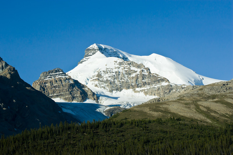 Columbia Icefields along the Icefields Parkway in Banff National Park in Alberta, Canada.