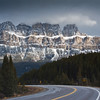 Snowy scenic drive in late October on highway 93 in British Rocky Mountains in Kootenay National Park, British Columbia, Canada. Kootenay National Park, established in 1920, is one of 42 national parks in Canada.
