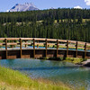 Bridge over Cascade Pond along Loop Minnewanka road, near the town of Banff, in Banff National Park, Alberta, Canada.