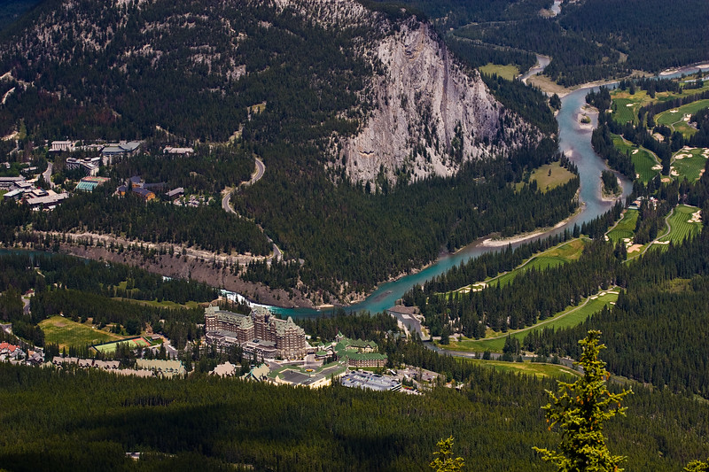 View of Banff Springs Hotel and Bow River from top of Sulphur Mountain in Banff National Park, Alberta, Canada.