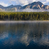 Fog on Patricia Lake, in Jasper National Park, Alberta, Canada.