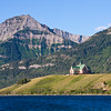 Prince of Wales Hotel and National Historic Site in Waterton Lakes National Park in Alberta, Canada. The Prince of Wales Hotel was built as an extension to the chain of hotels and chalets built and operated by the Great Northern Railway in Glacier National Park, Montana. Louis Hill, President of the Great Northern Railroad, picked the site for the hotel in 1912. It took until 1926 to get the land leased from the Canadian Government and construction began immediately thereafter.