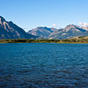 Waterton Lake in Waterton Lakes National Park in Alberta, Canada. This park and Glacier National Park share a common area classified as an international peace park.