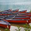 Canoes for rent on Emerald Lake in Yoho National Park, British Columbia, Canada.