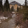 Chateau Lake Louise resort on a snowy day in late October, in Banff National Park, Alberta, Canada.