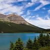 Num-ti-jah Lodge at Bow Lake and Crowfoot Mountain in Banff National Park, Alberta, Canada.