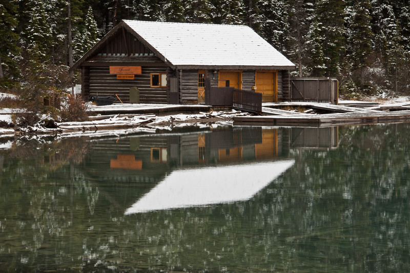 Snow and snow reflection on roof of Cabin on Lake Louise in Banff National Park, Alberta, Canada.