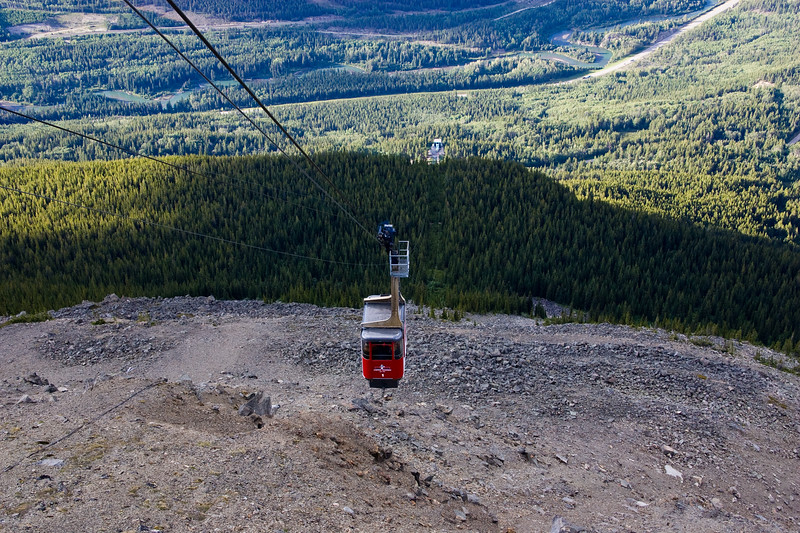 Tram ride up to the top of Whistler's Mountain near the town of Jasper in Jasper National Park, Alberta, Canada.