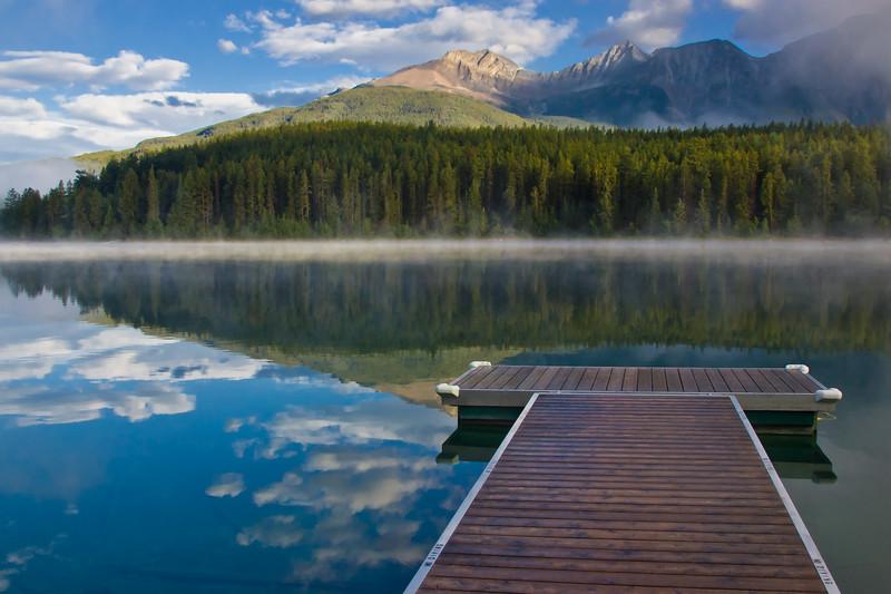 Fog on Patricia Lake, in Jasper National Park, Alberta, Canada.