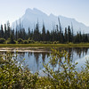 Silhouette of Mt. Rundle reflected in Vermillion Lakes near Banff, in Banff National Park, Alberta, Canada.