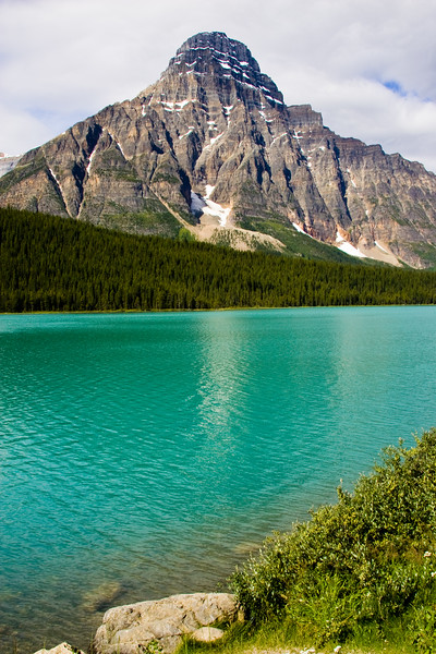 Waterfowl Lake seen from the Icefields Parkway in Alberta, Canada. Most noticeable here is Mount Chephren, which tops out at 10,850 feet.