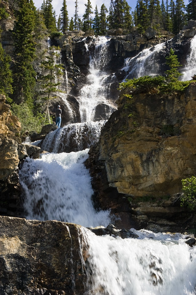 Tangle Falls in Jasper National Park, Alberta, Canada, along the Columbia Icefields Parkway.