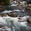 Rapids and currents on the Savegre River at the Savegre Mountain Lodge in the Tamalanca Mountains of Costa Rica.