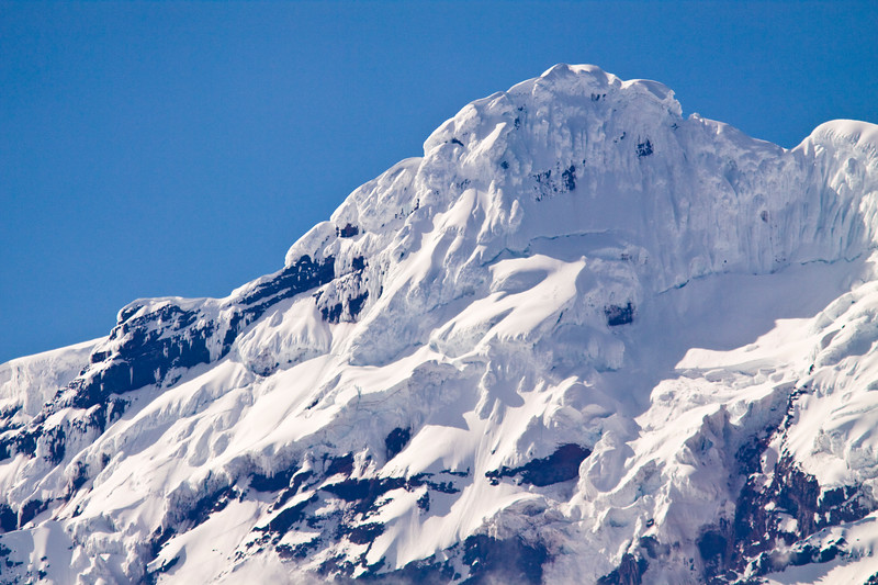 Antisana Volcano in Ecuador is always covered in ice and snow.