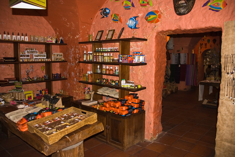 Shops in San Francisco Square in Old Town, Quito, Ecuador. These shops allow native crafts to be sold to tourists.