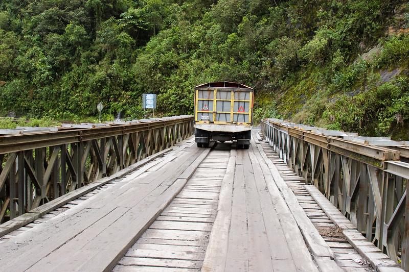 Bridge over Rio Jatuntinahua river in the Eastern Andes in Ecuador