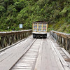 Bridge over Rio Jatuntinahua river in the Eastern Andes in Ecuador