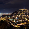 Quito Ecuador at night, view of colonial city or old city