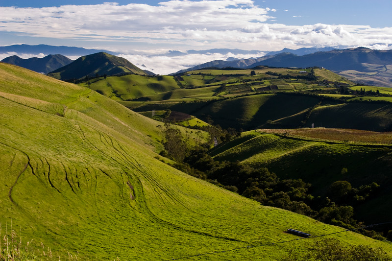 Road through mountain landscape in Western Andes in Ecuador, Road to Quito