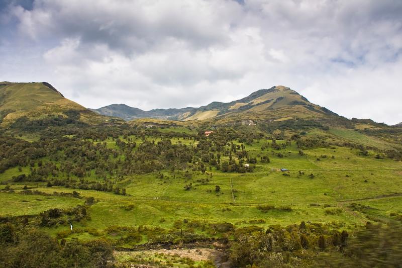 Views of mountainous terrain on the road to the Antisana Reserve in Ecuador.
