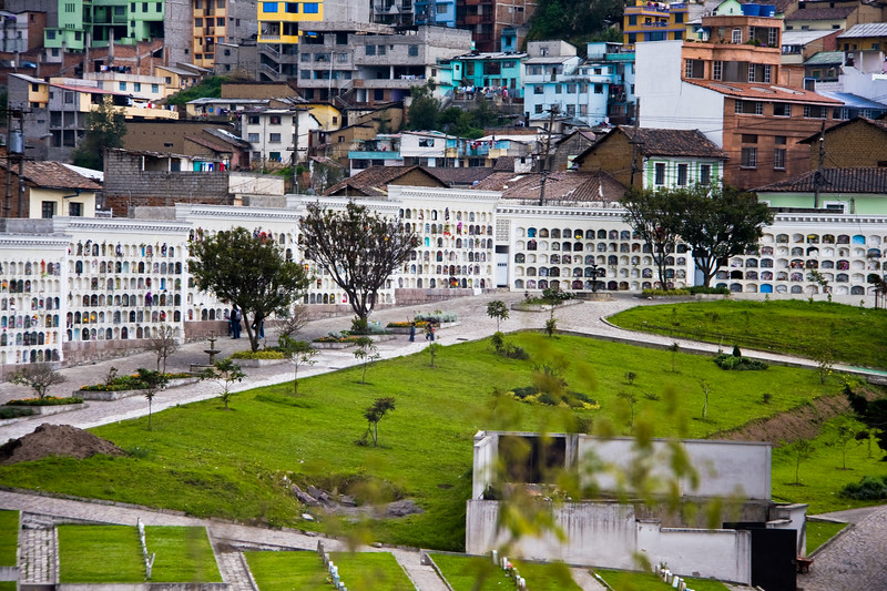 Cemetary vaults in Quito, Ecuador. Space is at a premium, so burial is in stacked vaults.