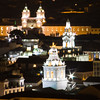 Quito, Ecuador, at night. View from a restaurant on a hill overlooking the city.