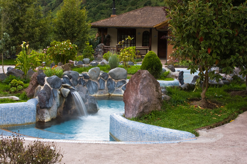 Termas de Papallacta Resort in Ecuador. Hot Springs from volcanic area are an attraction for tourists and are considered a health benefit.