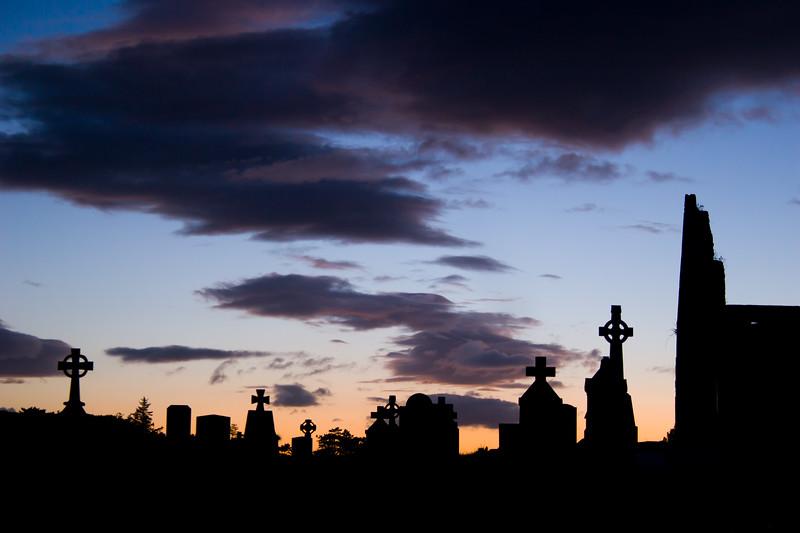 Burrishole Abbey at night, in County Mayo, Ireland