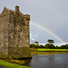 Rainbow at Rockfleet Castle, a Grace O'Malley defense castle on Clew Bay in County Mayo, Ireland