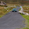 Sheep on Road on Achill Island, County Mayo, Ireland. Sheep have the right-of-way in Ireland.