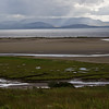 View of Clew Bay in rain, in Ireland, boggy land and sandy beaches