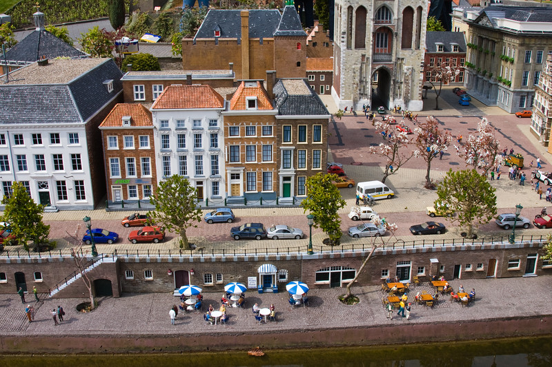 Madurodam, a whole country in miniature, is a major tourist attraction at Den Haag (or The Hague), in South Holland, The Netherlands. Most important or famous scenes and buildings in Holland are represented here in miniature.
