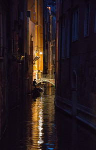 Gondola and Canal, Venice, Italy - 2015