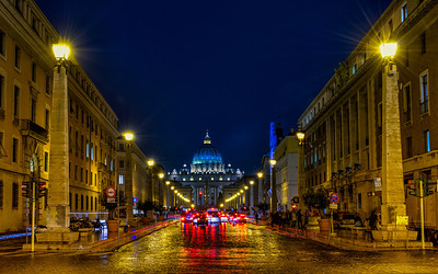 St.Peter's Basilica on a rainy night.