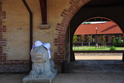 Jennifer wanted to meet the stone lion at the historic Train Depot (one of two) in Waxahachie.