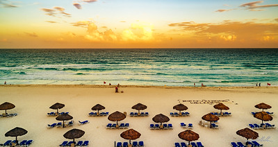Sunset on the beach at the Royal Carribbean Resort