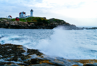Crashing waves, Cape Neddick (Nubble) Light (1879)