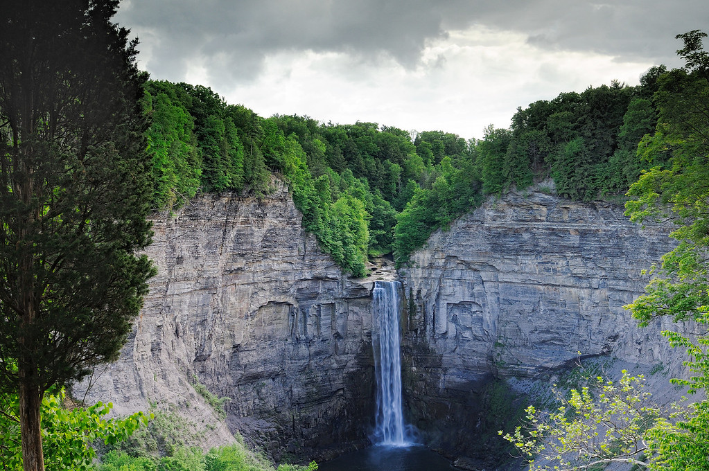Taughannock Falls is 215' high and is 33' higher than Niagara Falls and is the highest freefall in waterfall in the northeastern United States. It falls with such force, the plunge pool below is more than 30' deep