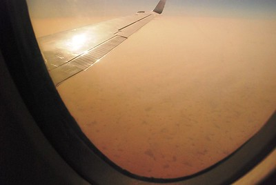 early morning view of the Sahel desert from our puddle jumper