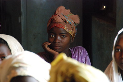 Young girl in the first school ever for the village.  This has allowed girls to get access to education as well. Niger, 2010