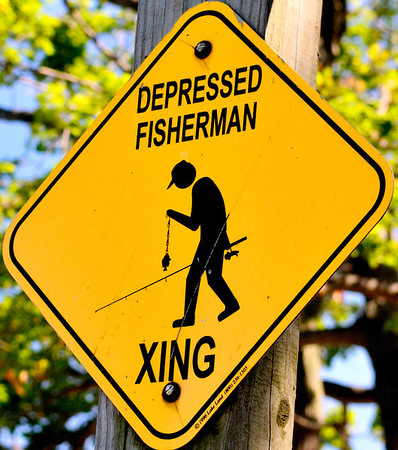 Depressed Fisherman Sign at Kelley's Island