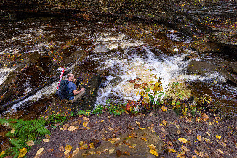 Photgrapher photographing Shawnee Falls