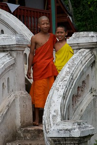 Luang Prabang, Laos - small UNESCO Village on the Mekong River (across from LP) - Temple Scene TK3_0980