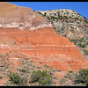 Red Rock Formation with White Strata Lines