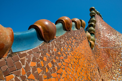 The Roof of Gaudi's Casa Batllo, Barcelona, Spain - 2015