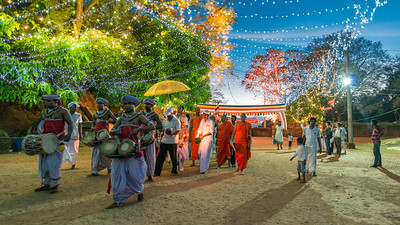Evening Procession at Mihintale Temple, Sri Lanka - 2017